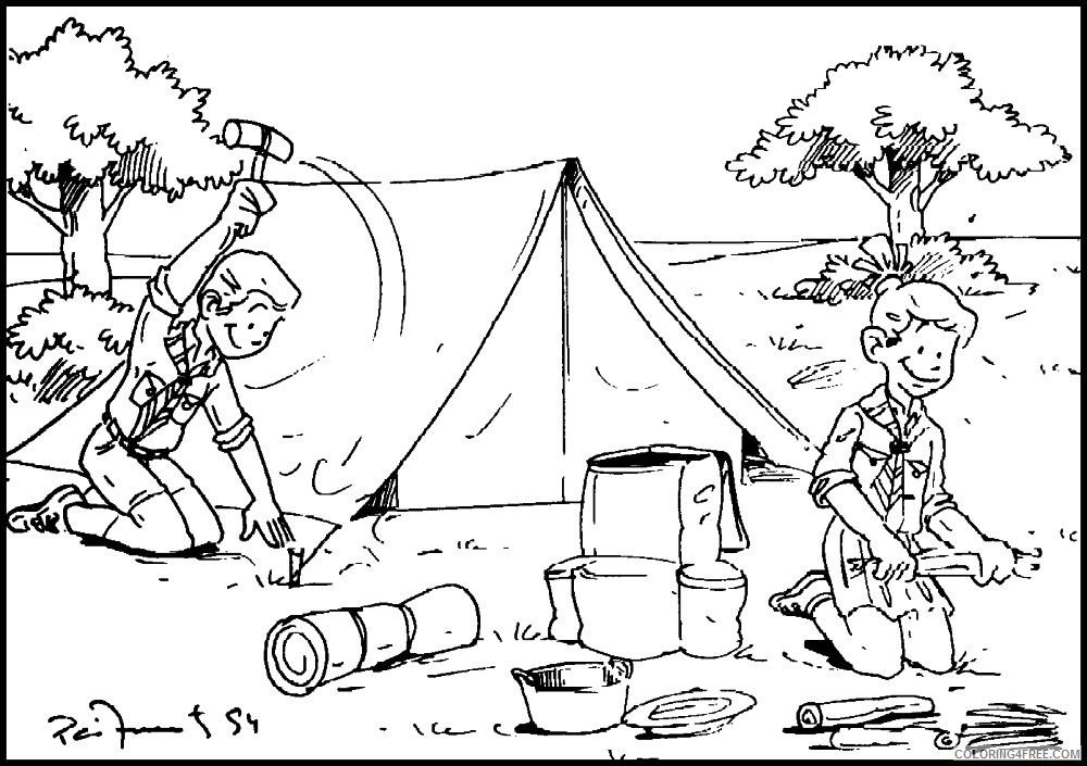 camping coloring pages boys scout Coloring4free
