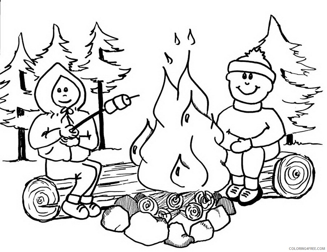 camping coloring pages roasting marshmallows in campfire Coloring4free