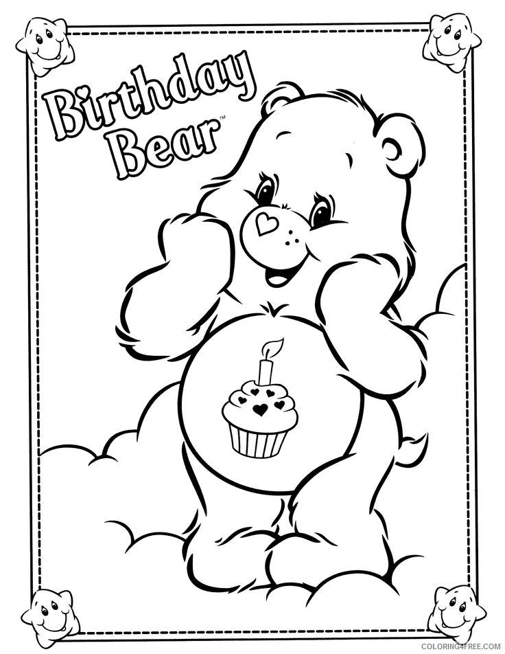 care bears coloring pages birthday bear Coloring4free