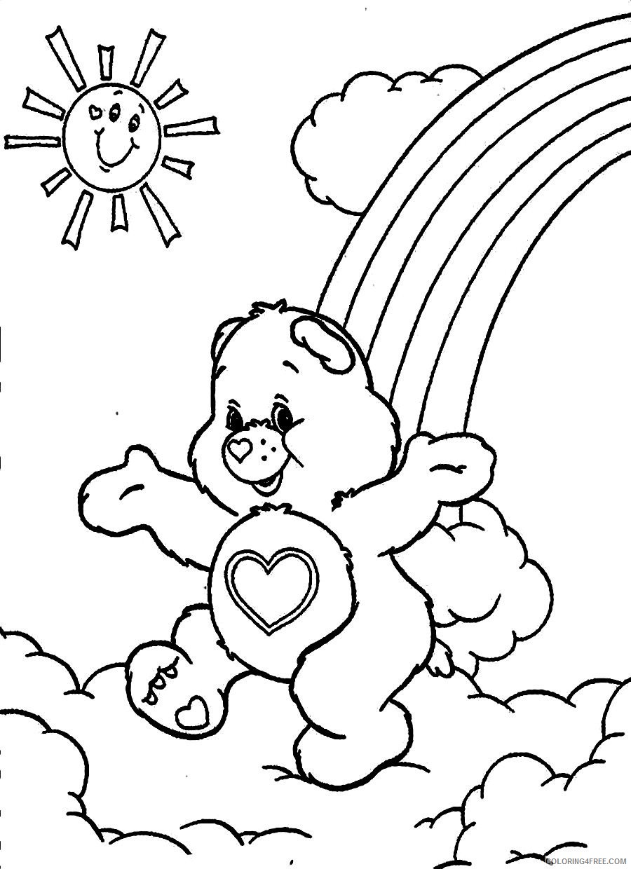 care bears coloring pages rainbow and sun Coloring4free