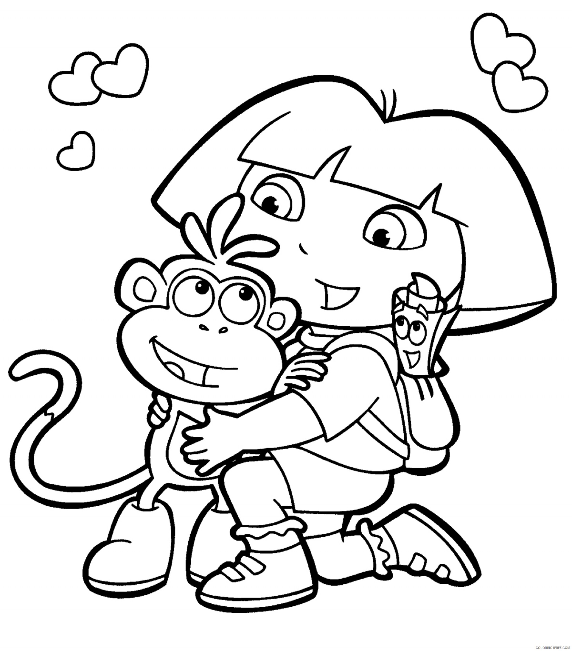 cartoon coloring pages dora the explorer Coloring4free