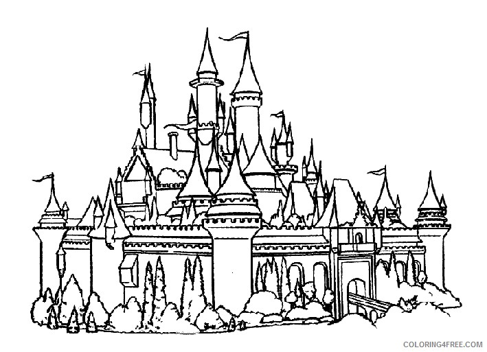 castle coloring pages disneyland Coloring4free