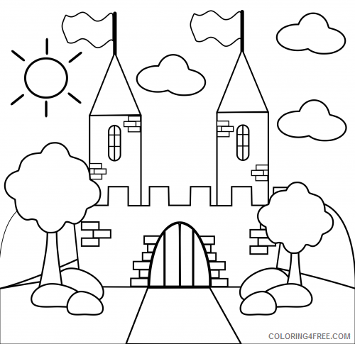 castle coloring pages for toddler Coloring4free