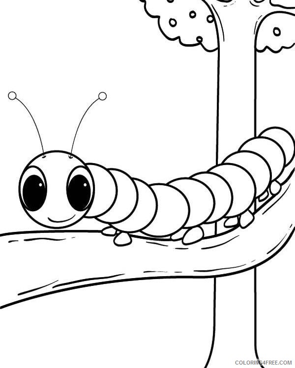 caterpillar coloring pages on tree Coloring4free
