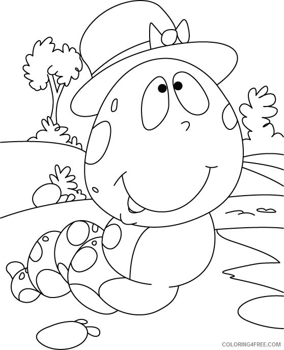 caterpillar coloring pages wearing hat Coloring4free