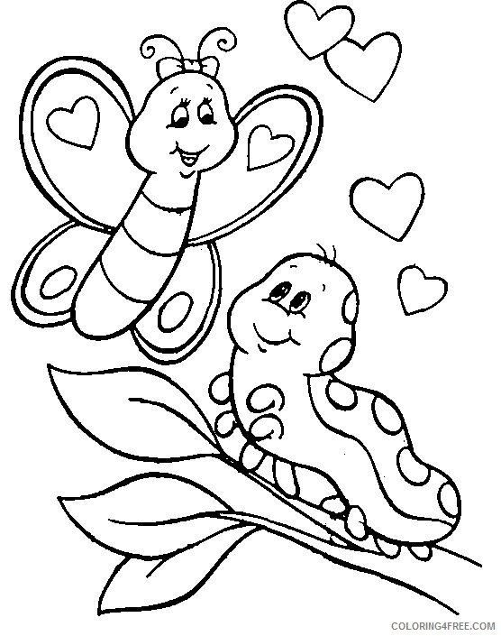 caterpillar coloring pages with butterfly Coloring4free