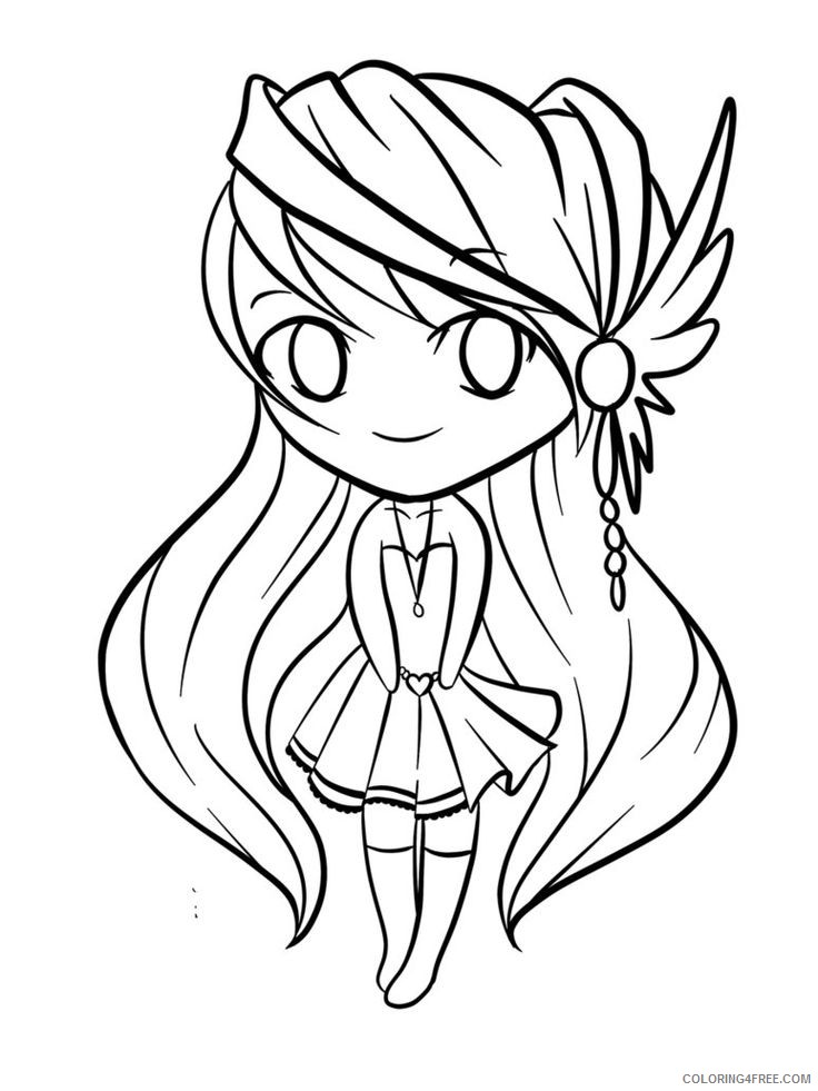 chibi coloring pages anime Coloring4free