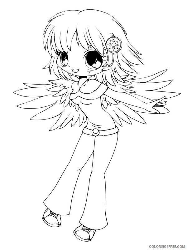 chibi coloring pages anime angel Coloring4free