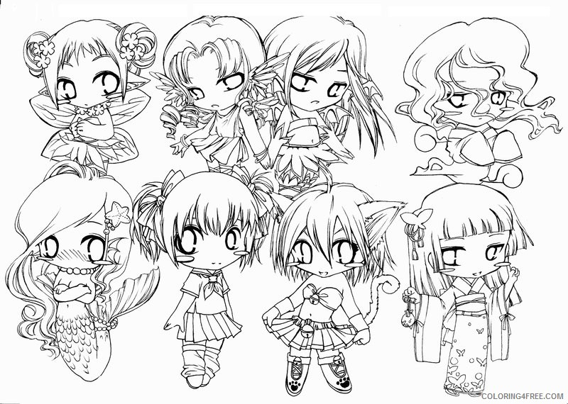chibi coloring pages for adults Coloring4free