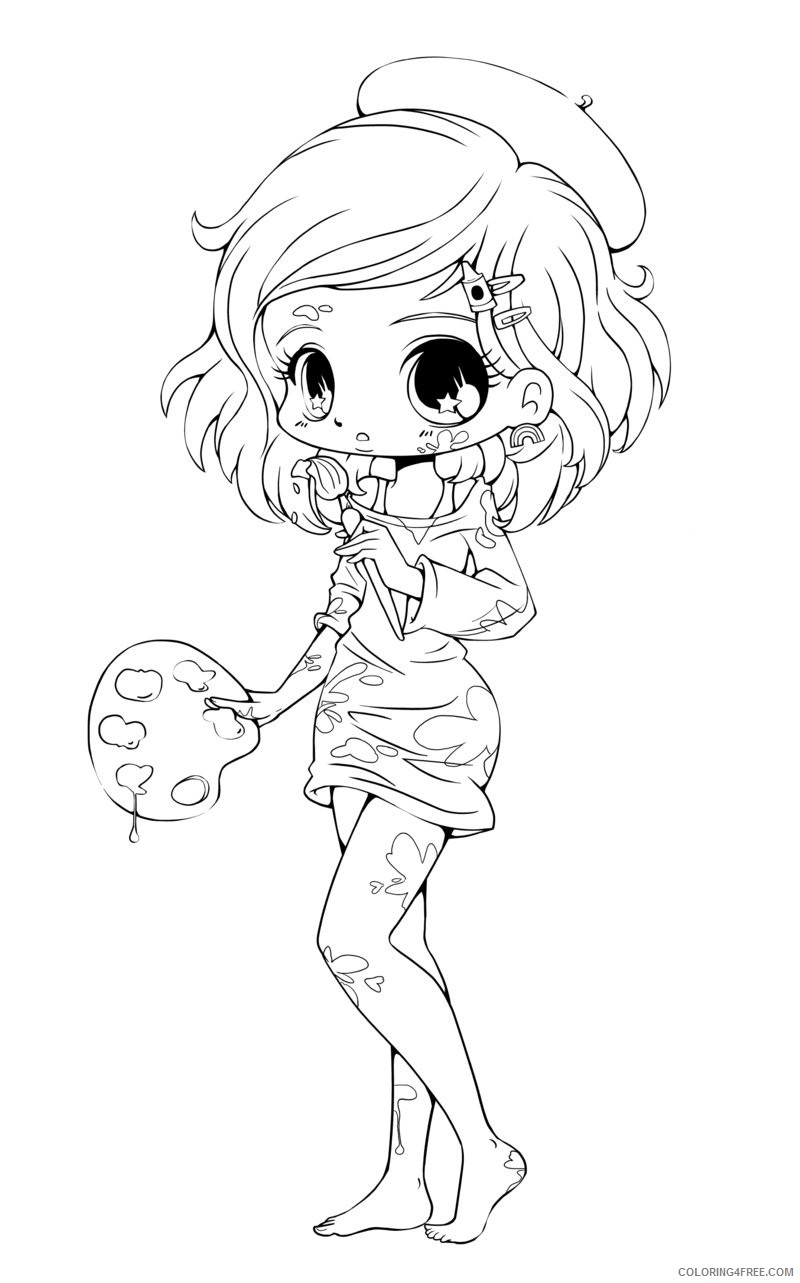 chibi coloring pages girl painter Coloring4free