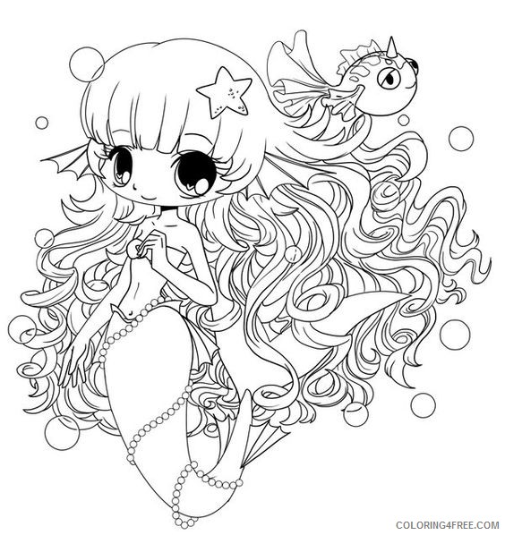 chibi coloring pages mermaid Coloring4free