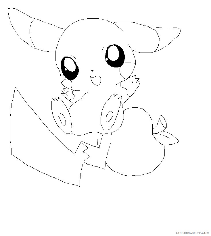 chibi coloring pages pikachu Coloring4free