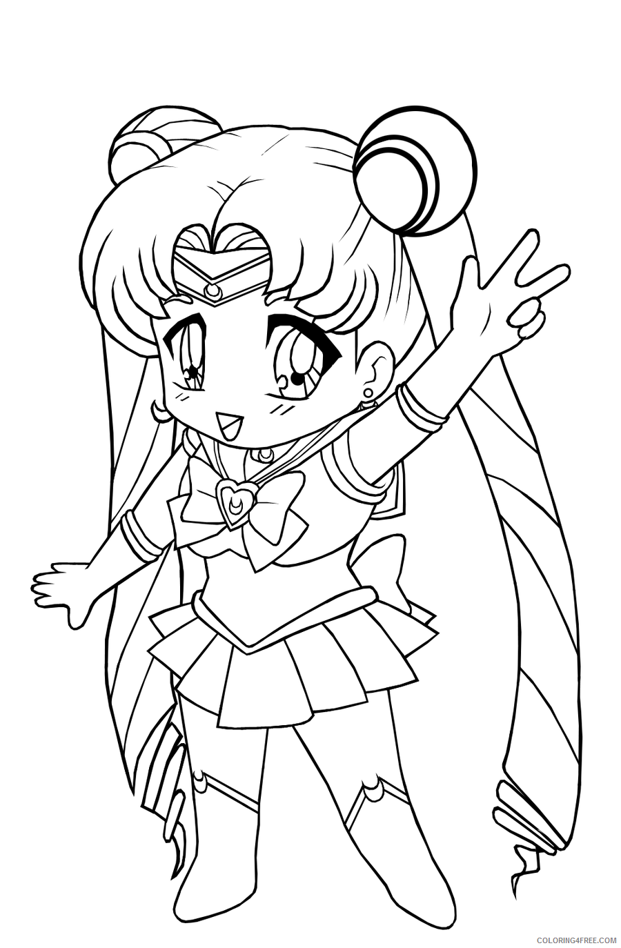chibi coloring pages sailor moon Coloring4free