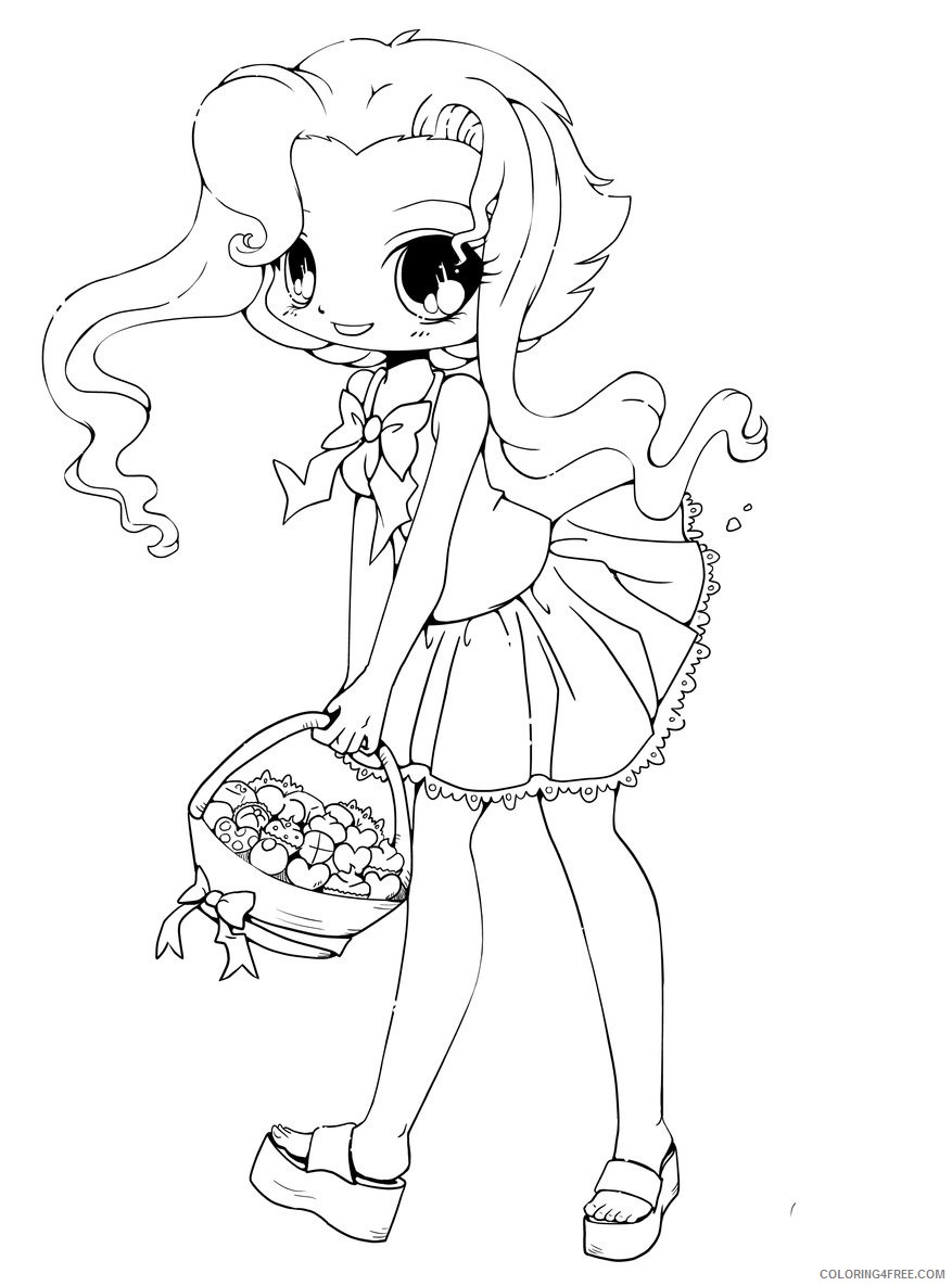 chibi girl coloring pages bring candies Coloring4free