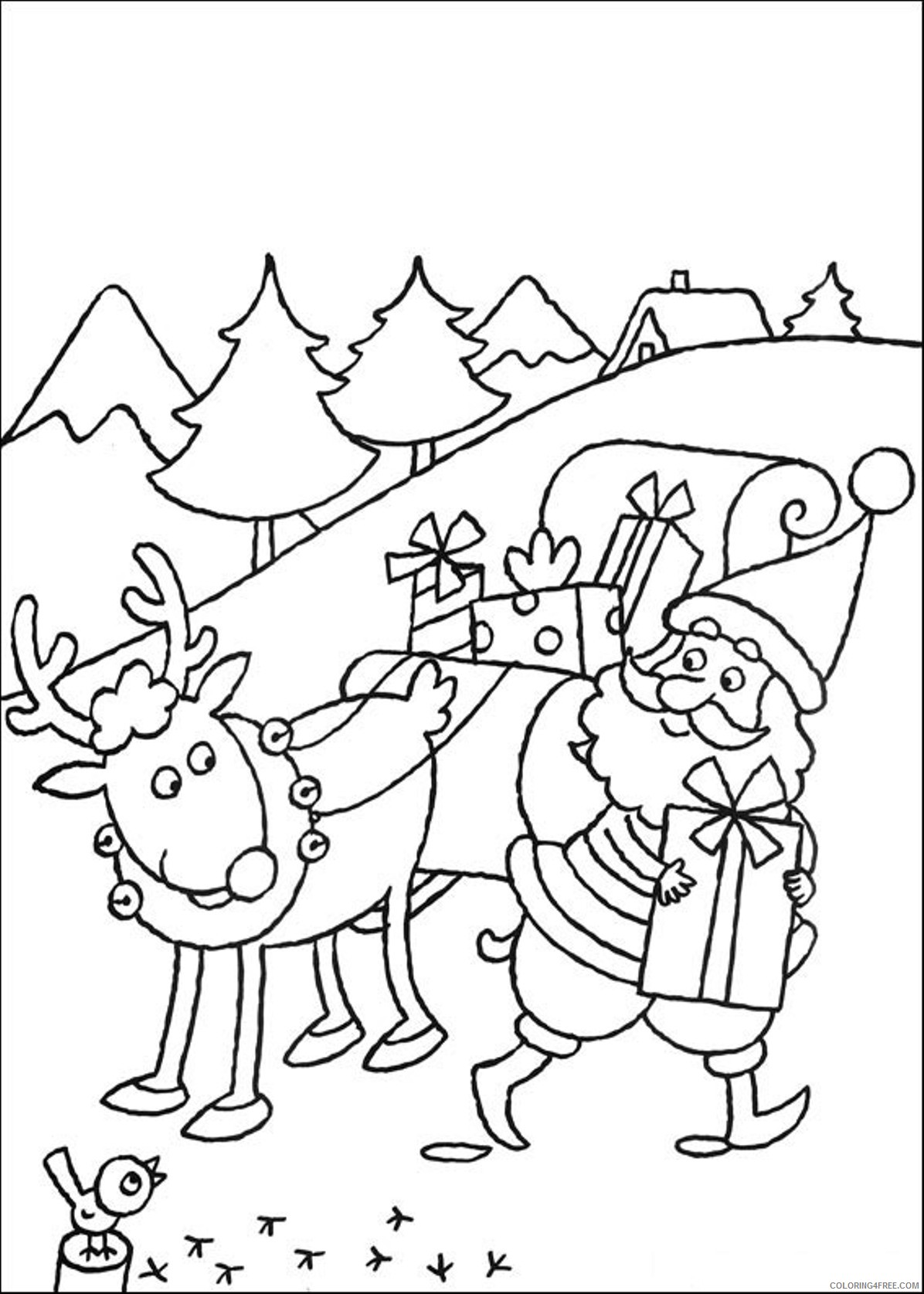 christmas reindeer coloring pages printable Coloring4free
