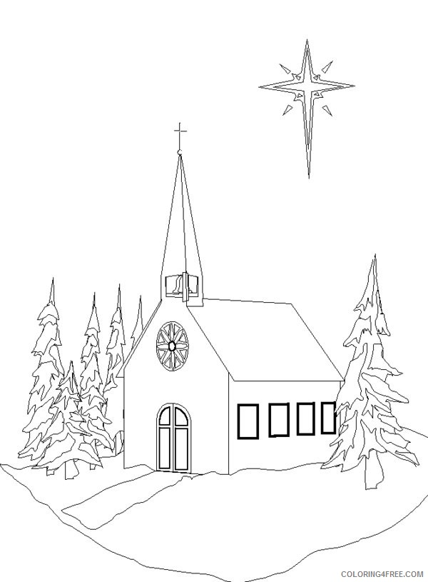 church coloring pages in winter Coloring4free