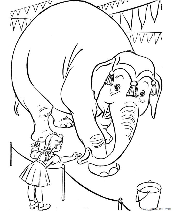 circus coloring pages feeding elephant Coloring4free