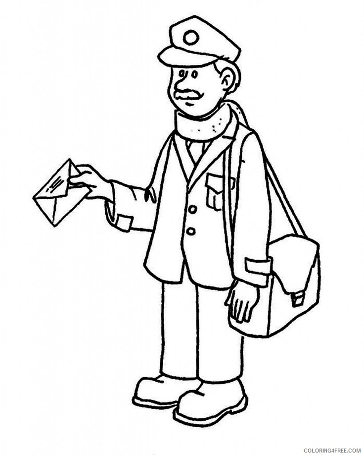 community helpers coloring pages postman Coloring4free