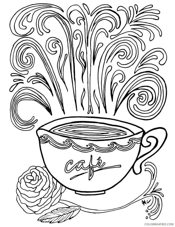 complex coloring pages a cup of coffee Coloring4free