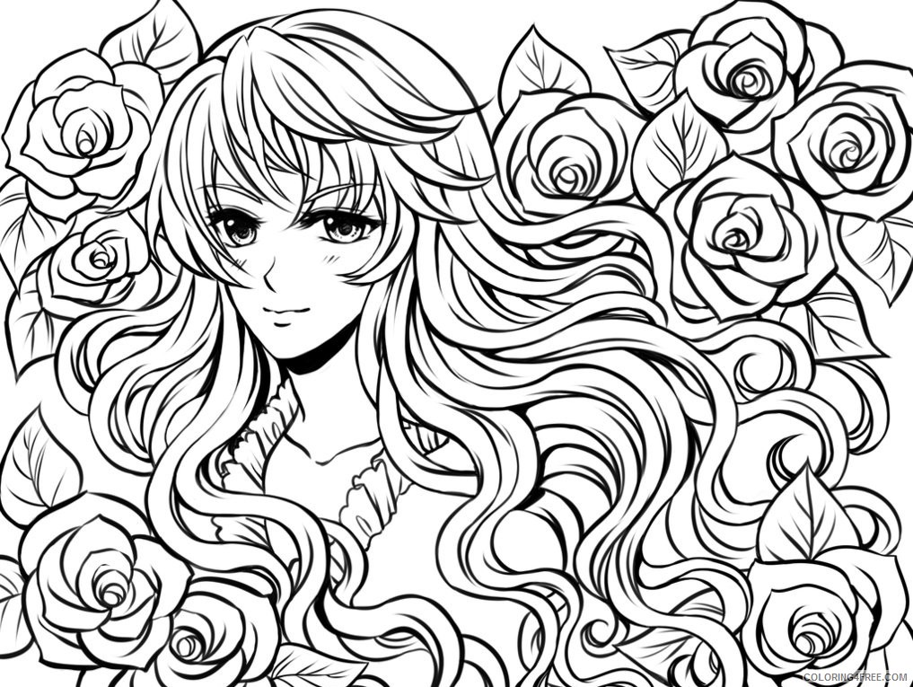 complex coloring pages anime girl and flowers Coloring4free