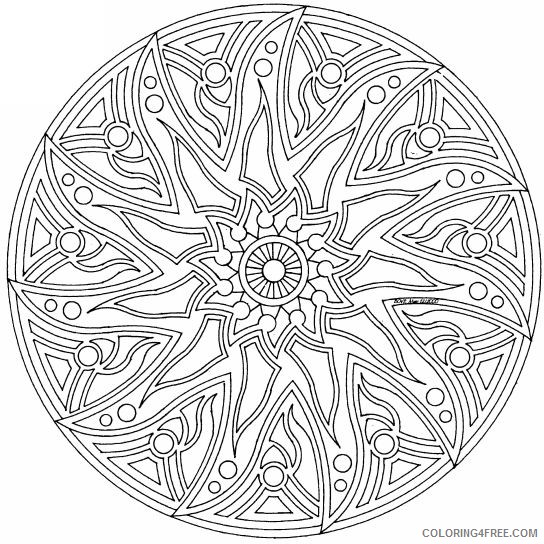complex coloring pages circled mandala Coloring4free