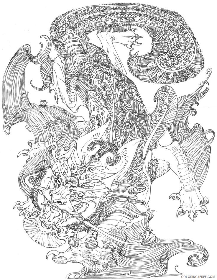 complex coloring pages dragon for adults Coloring4free