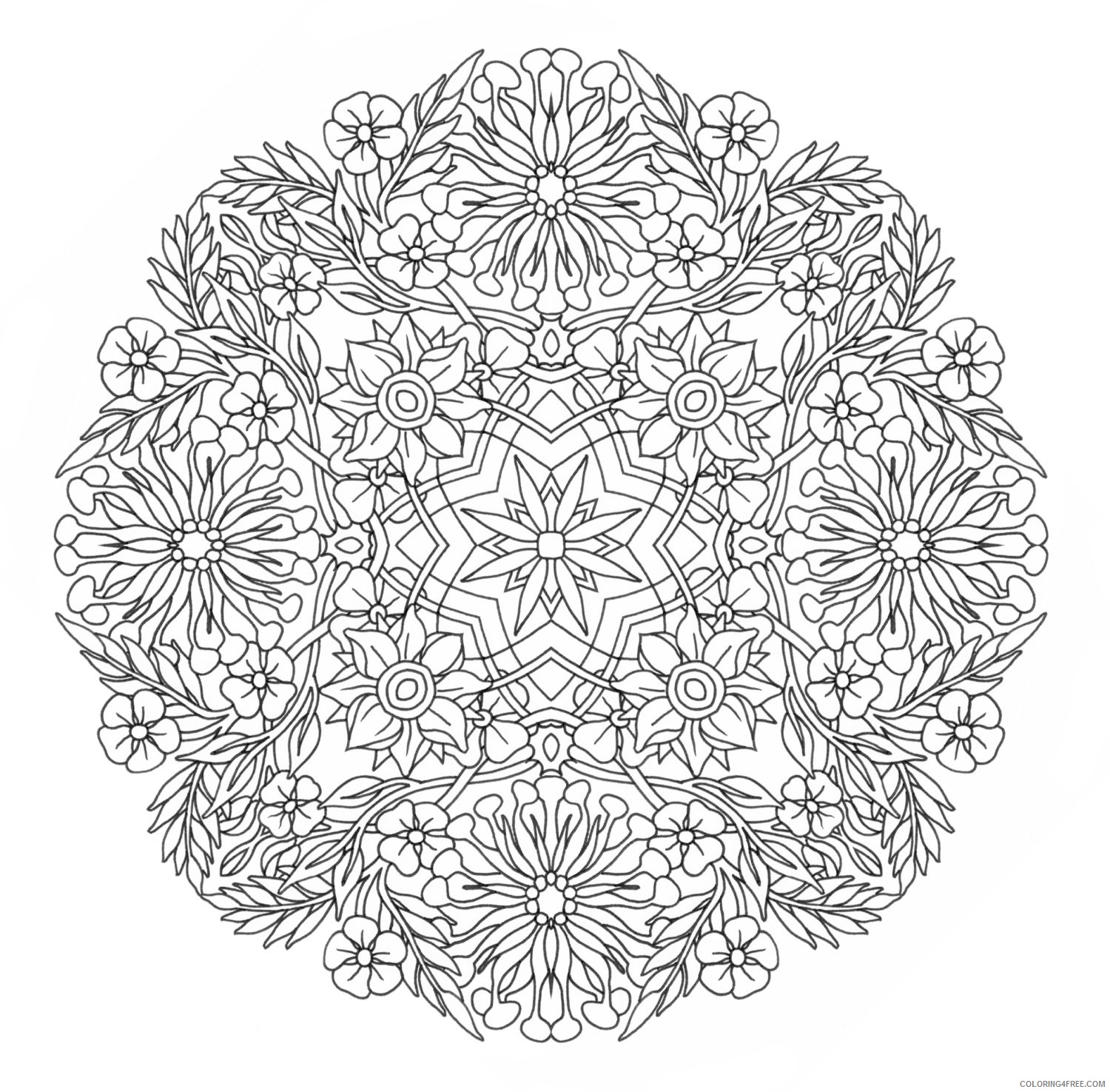 complex coloring pages flowers mandala Coloring4free