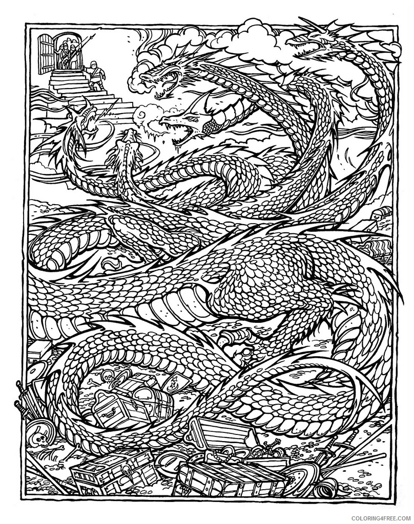 complex coloring pages of dragon Coloring4free