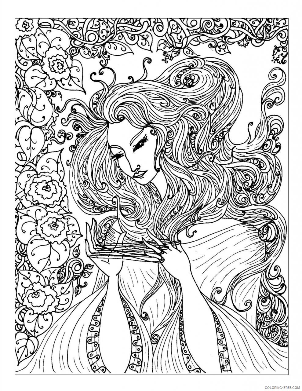 complex coloring pages of girl Coloring4free
