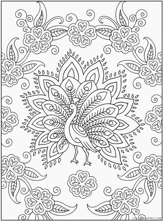 complex coloring pages of peacock Coloring4free