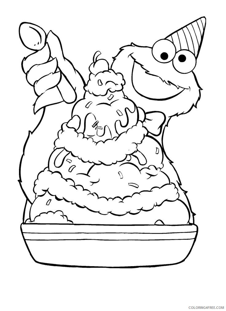 cookie monster coloring pages eating ice cream Coloring4free