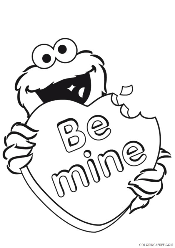cookie monster coloring pages valentines day Coloring4free