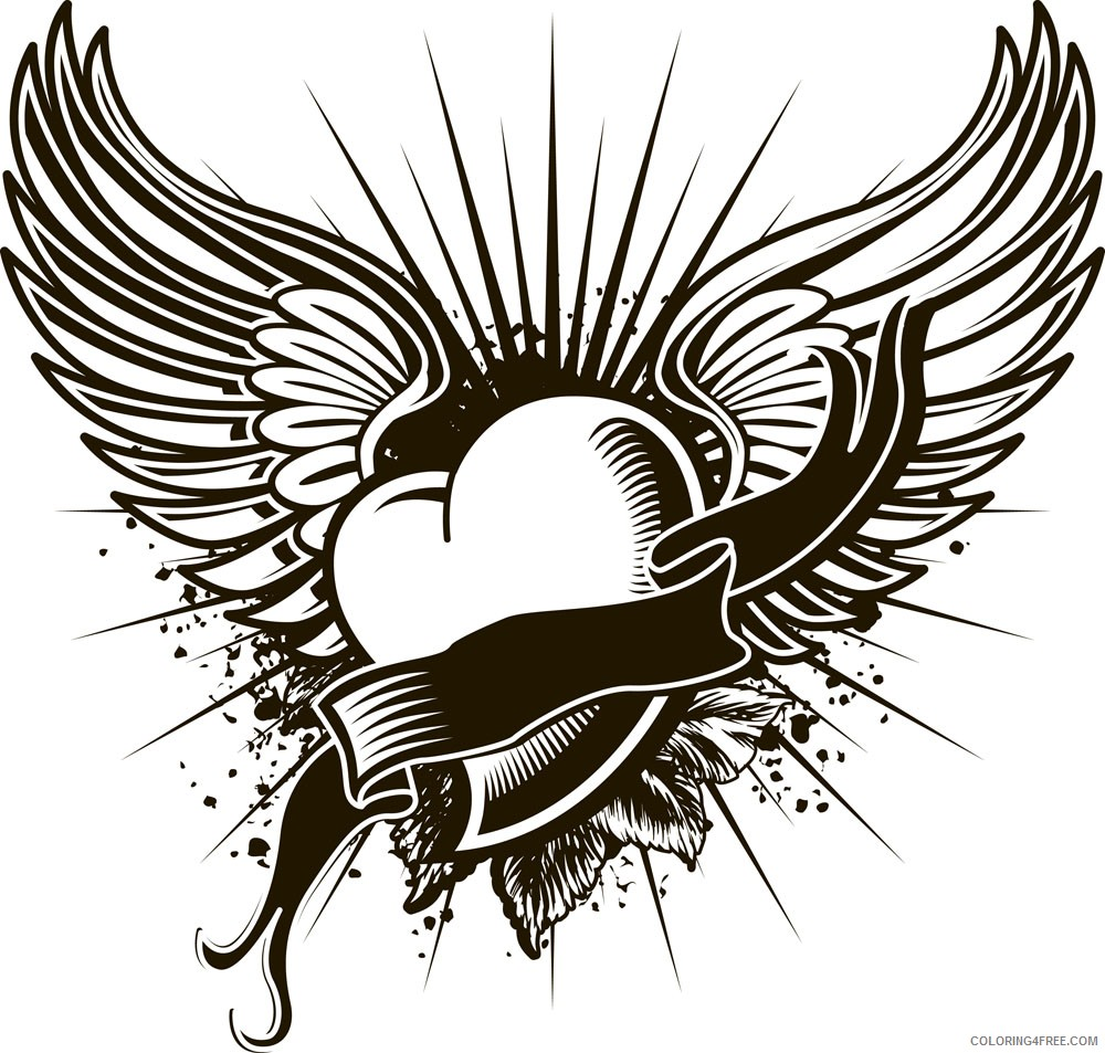 cool heart with wings coloring pages Coloring4free