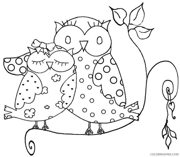 couple owl coloring pages Coloring4free