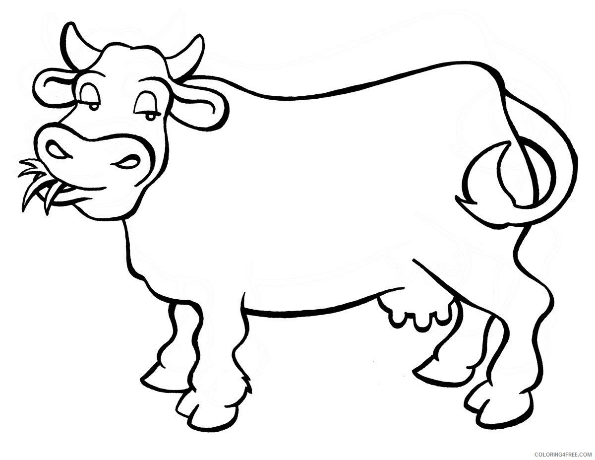 cow coloring pages eating grass Coloring4free