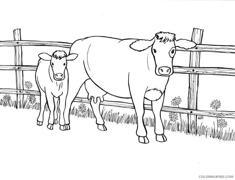 cow coloring pages mother and calf Coloring4free