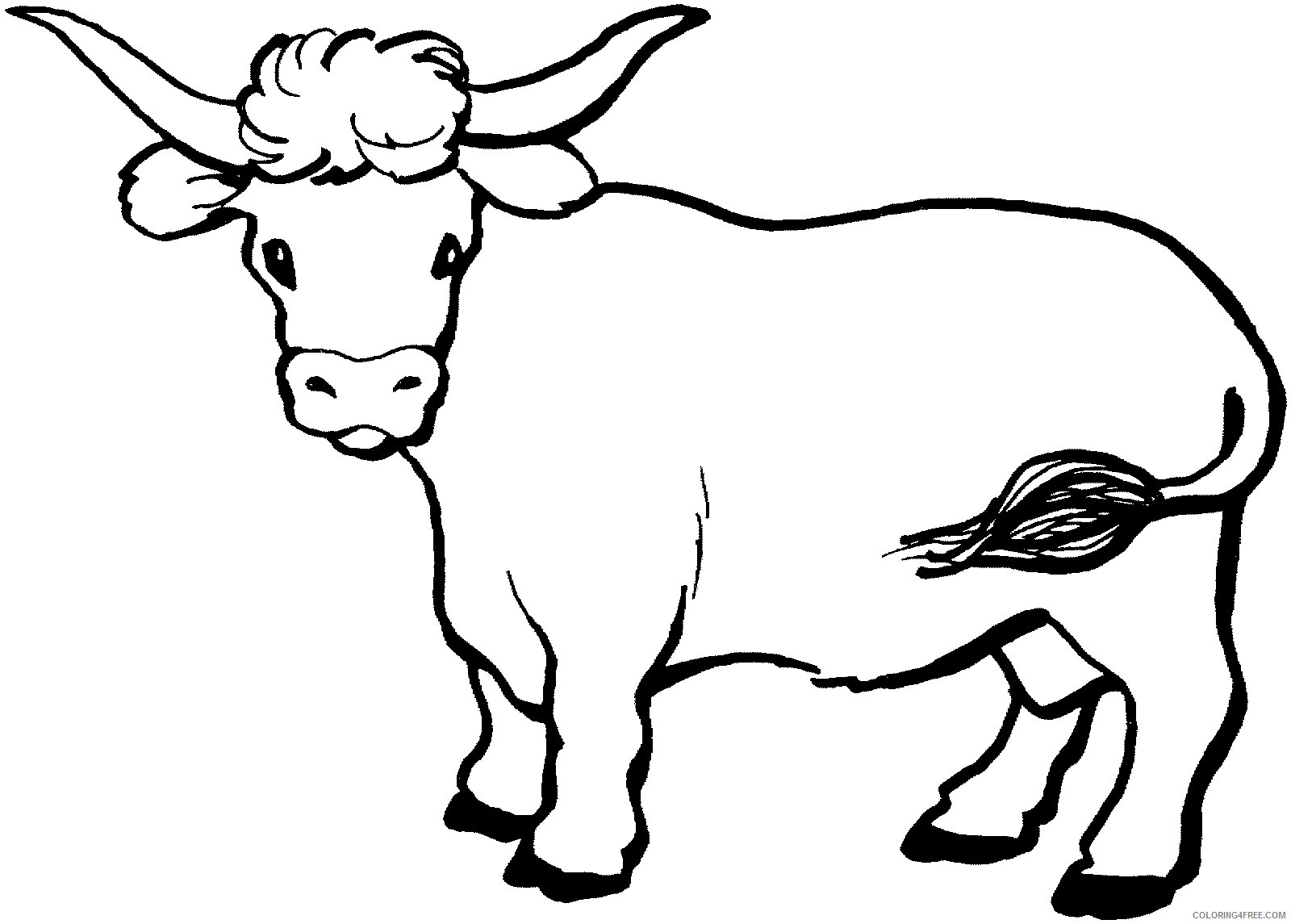 cow coloring pages with long horns Coloring4free