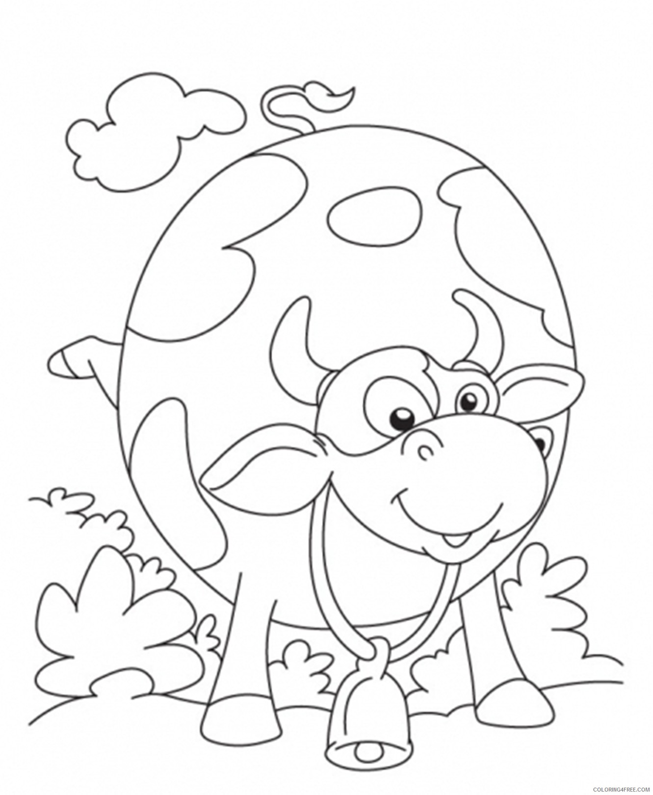 cow in field coloring pages for kids Coloring4free