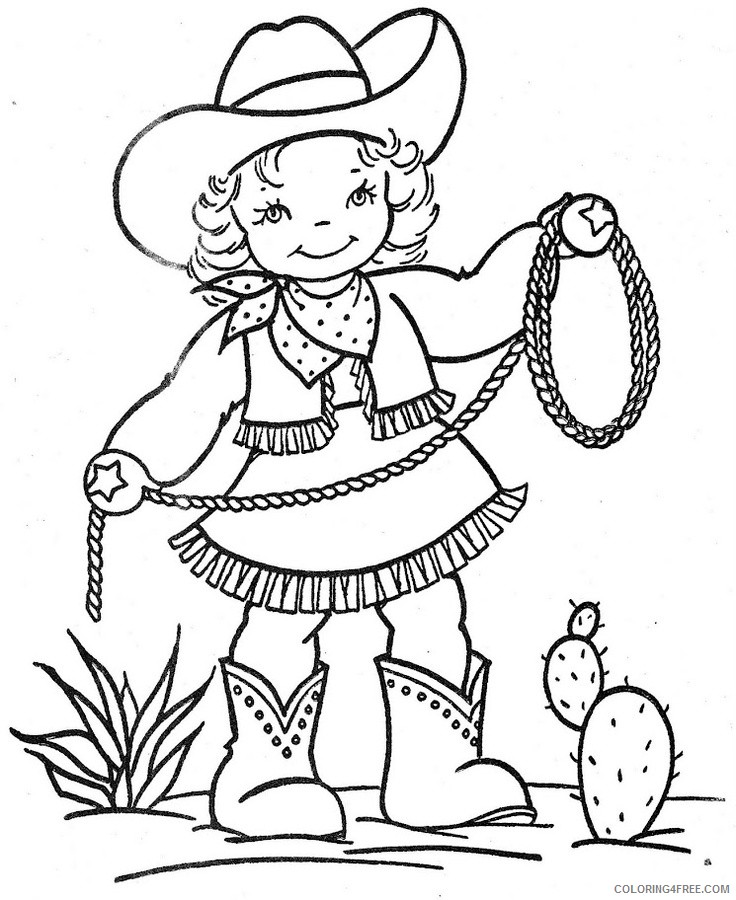 cowboy coloring pages for girls Coloring4free