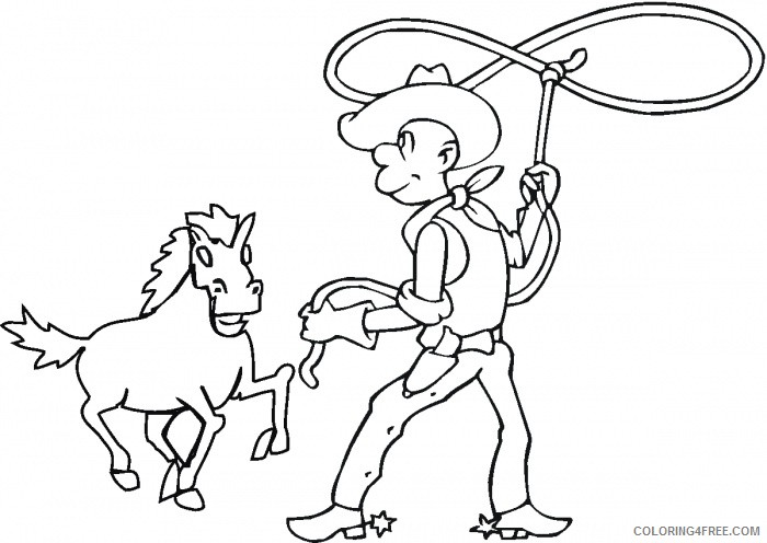 cowboy coloring pages lassoing horse Coloring4free