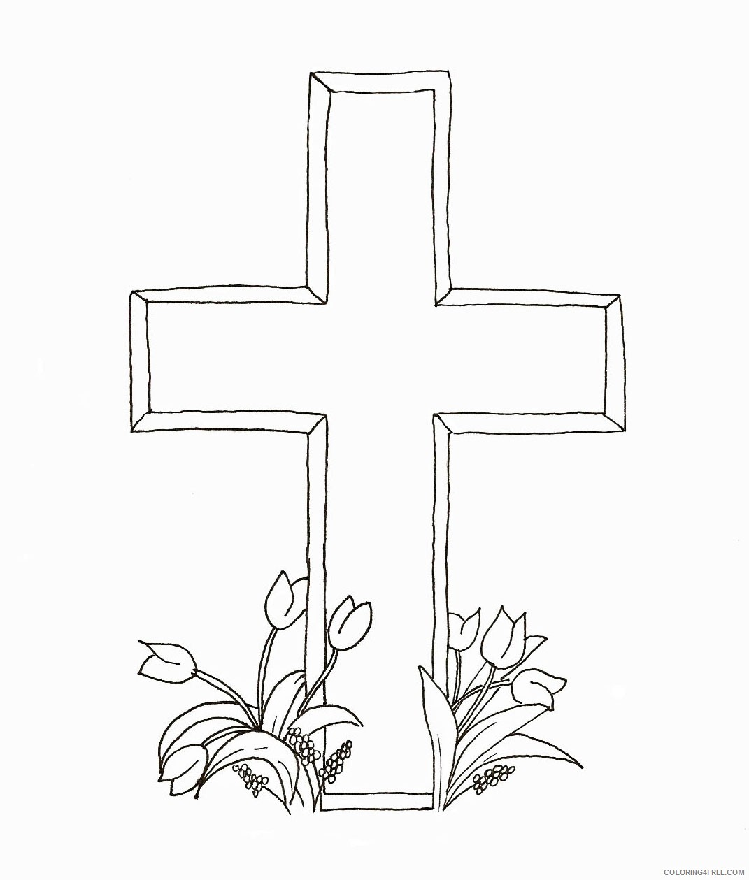 cross coloring pages with tulips Coloring4free