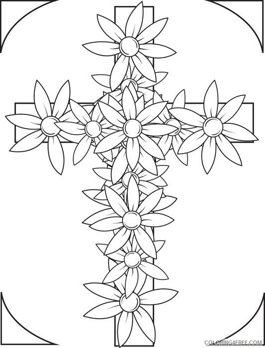 cross flowers coloring pages Coloring4free
