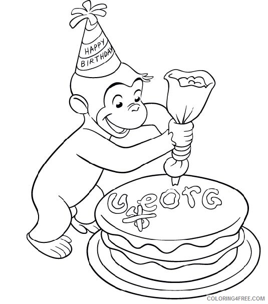 curious george coloring pages birthday cake Coloring4free