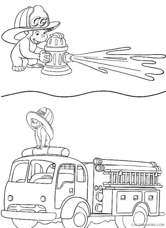 curious george coloring pages firefighter Coloring4free