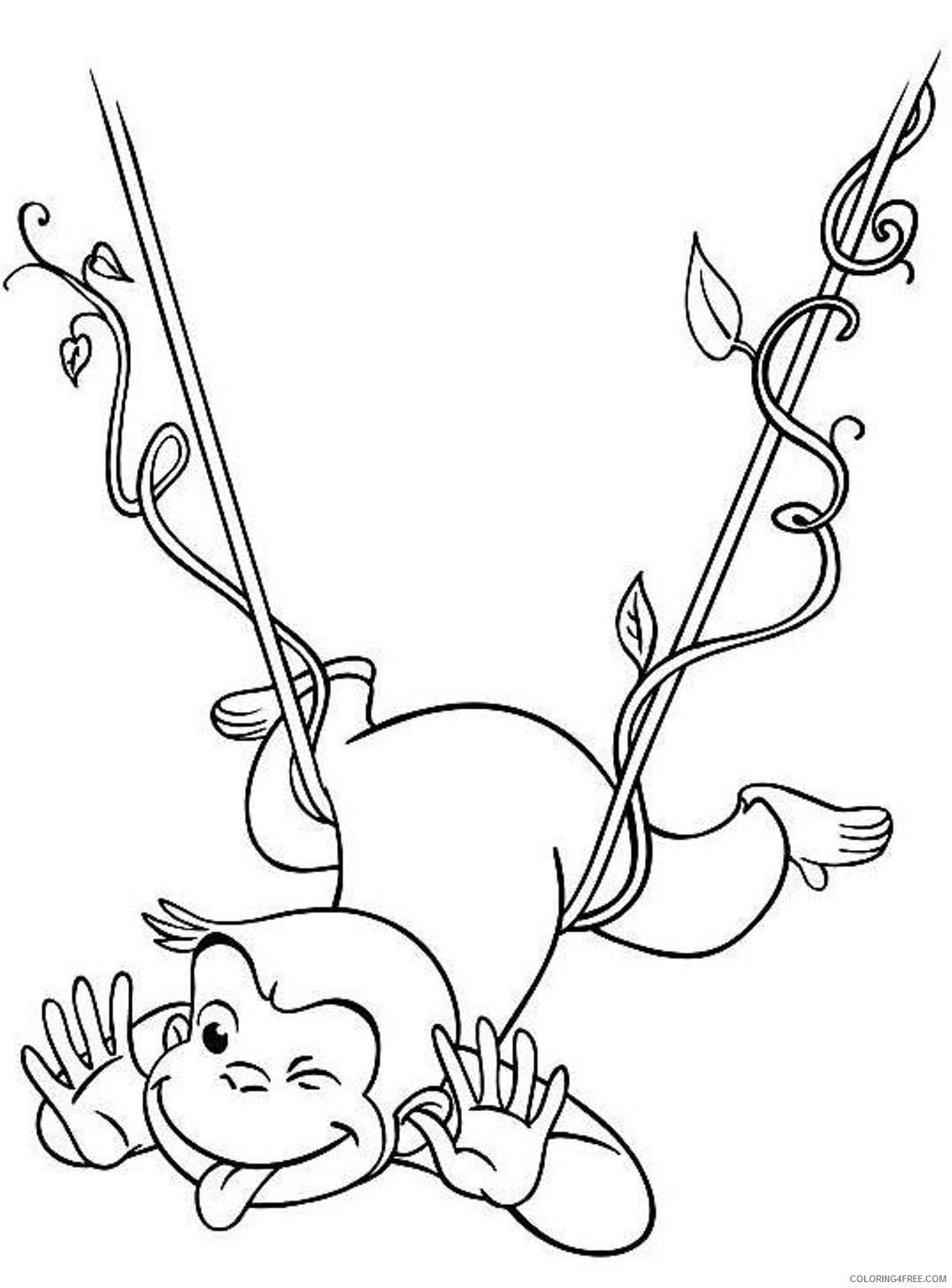 curious george coloring pages swinging Coloring4free