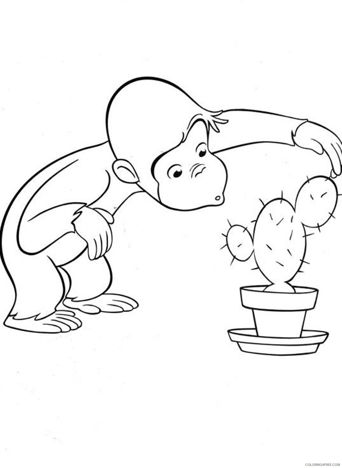 curious george coloring pages touching cactus Coloring4free