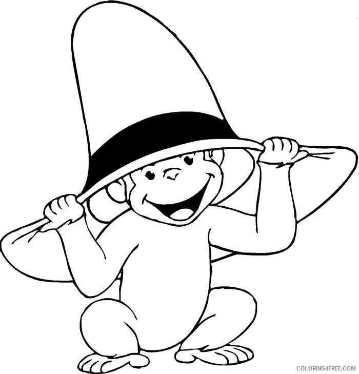 curious george coloring pages wearing yellow hat Coloring4free