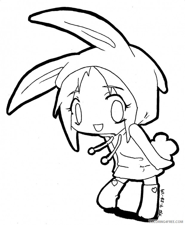 cute anime coloring pages with bunny costume Coloring4free