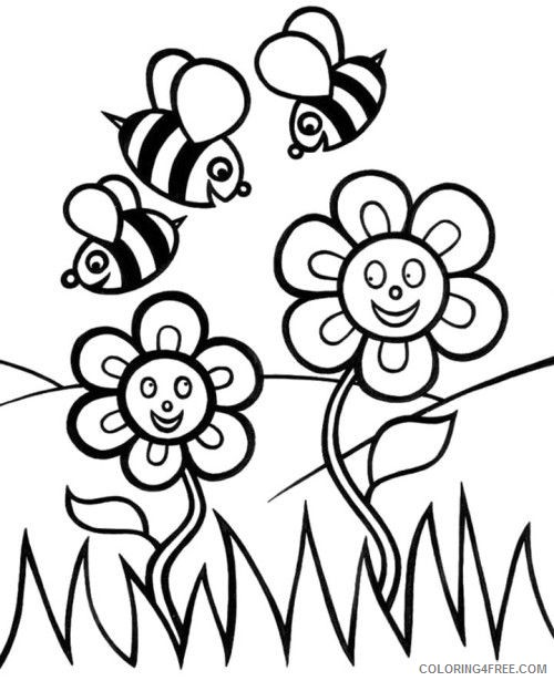 cute bee coloring pages and flowers Coloring4free