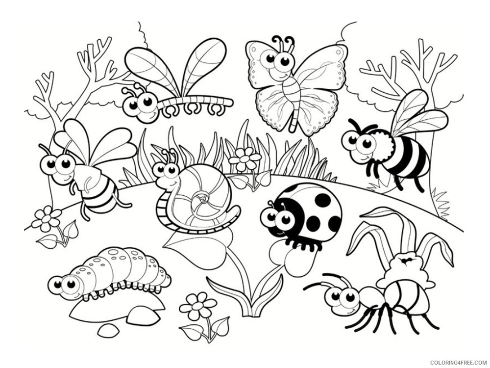 cute bug coloring pages to print Coloring4free
